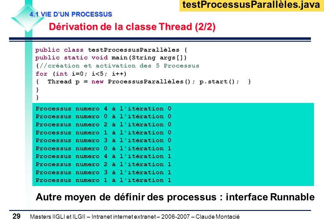 Masters IIGLI et ILGII – Intranet internet extranet – 2006-2007 – Claude Montacié 29 4.1 VIE D'UN PROCESSUS 4.1 VIE D'UN PROCESSUS Dérivation de la classe Thread (2/2) Dérivation de la classe Thread (2/2) public class testProcessusParallèles { public static void main(String args[]) {//création et activation des 5 Processus for (int i=0; i<5; i++) { Thread p = new ProcessusParallèles(); p.start(); } } testProcessusParallèles.java Processus numero 4 à l itération 0 Processus numero 0 à l itération 0 Processus numero 2 à l itération 0 Processus numero 1 à l itération 0 Processus numero 3 à l itération 0 Processus numero 0 à l itération 1 Processus numero 4 à l itération 1 Processus numero 2 à l itération 1 Processus numero 3 à l itération 1 Processus numero 1 à l itération 1 Autre moyen de définir des processus : interface Runnable