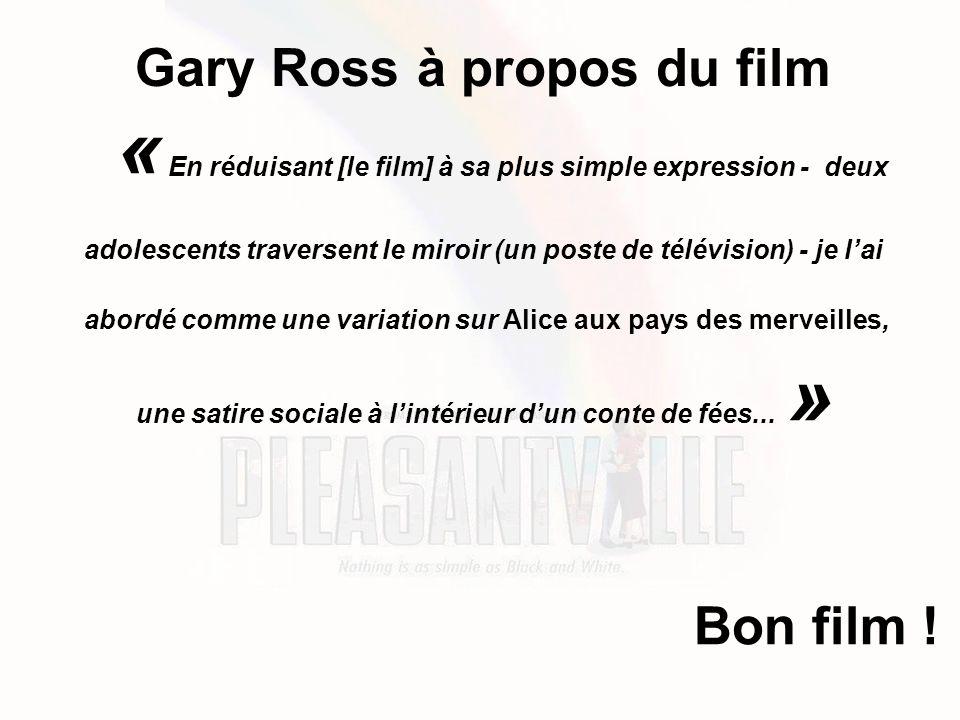 Gary Ross à propos du film « En réduisant [le film] à sa plus simple expression - deux adolescents traversent le miroir (un poste de télévision) - je l'ai abordé comme une variation sur Alice aux pays des merveilles, une satire sociale à l'intérieur d'un conte de fées...