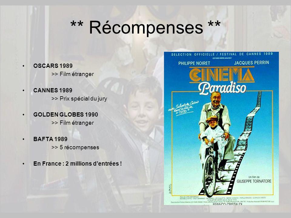 OSCARS 1989 >> Film étranger CANNES 1989 >> Prix spécial du jury GOLDEN GLOBES 1990 >> Film étranger BAFTA 1989 >> 5 récompenses En France : 2 million