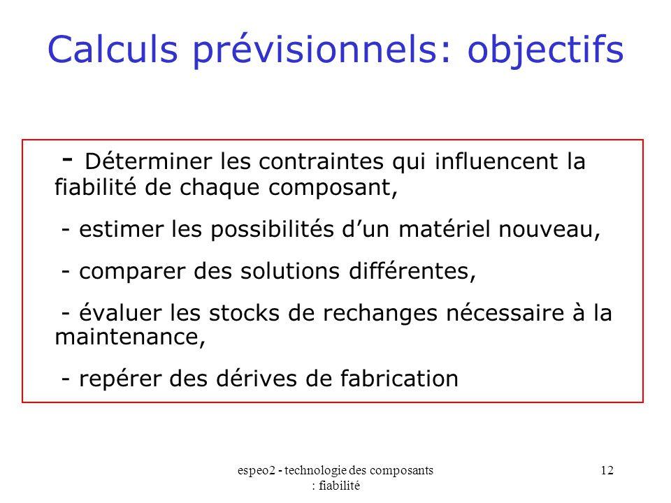 espeo2 - technologie des composants : fiabilité 12 Calculs prévisionnels: objectifs - Déterminer les contraintes qui influencent la fiabilité de chaqu