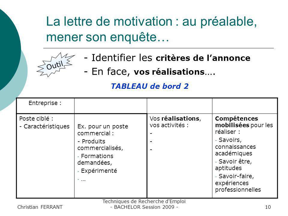 Christian FERRANT Techniques de Recherche d'Emploi - BACHELOR Session 2009 -10 La lettre de motivation : au préalable, mener son enquête… Outil - Iden