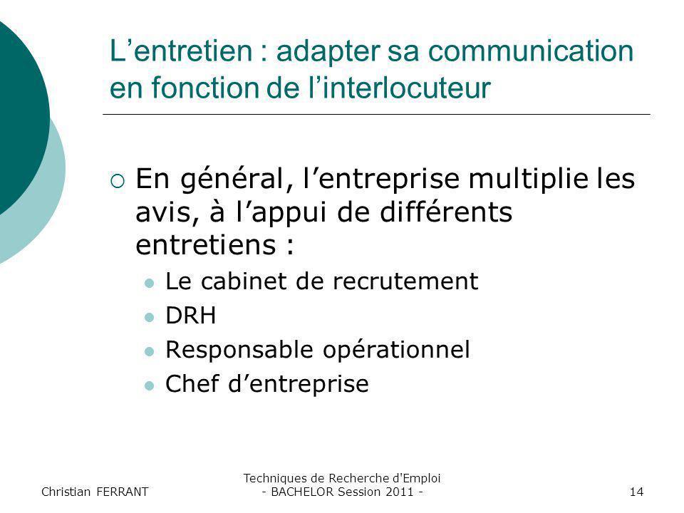 Christian FERRANT Techniques de Recherche d'Emploi - BACHELOR Session 2011 -14 L'entretien : adapter sa communication en fonction de l'interlocuteur 