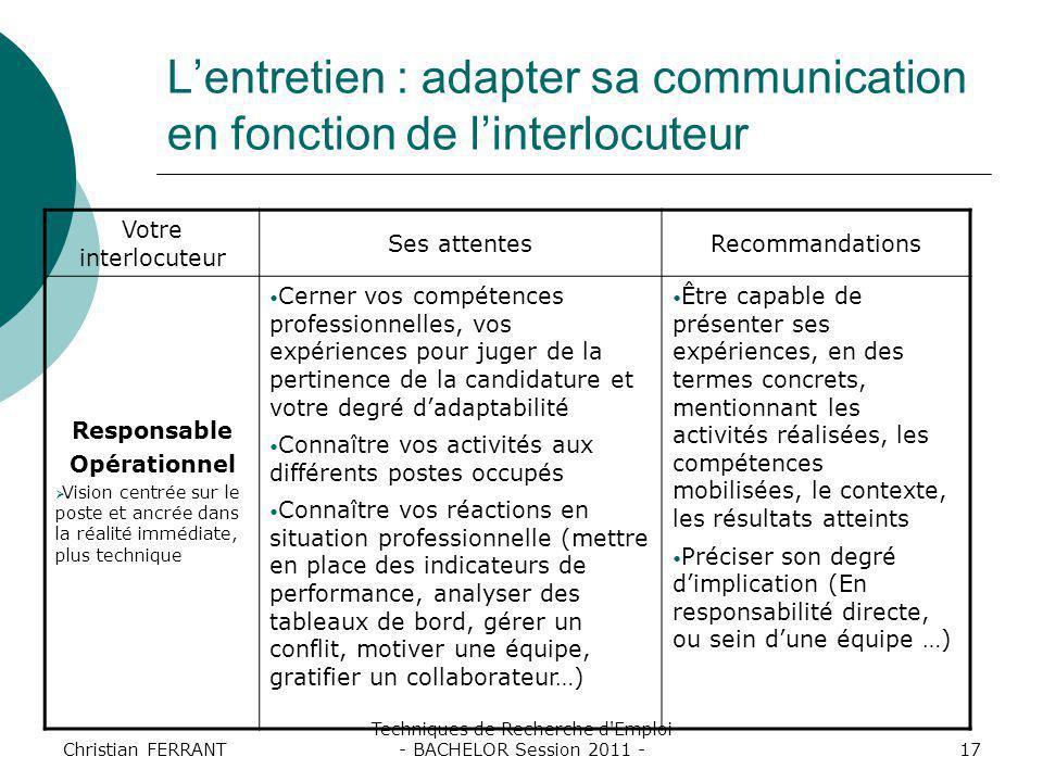 Christian FERRANT Techniques de Recherche d'Emploi - BACHELOR Session 2011 -17 L'entretien : adapter sa communication en fonction de l'interlocuteur V