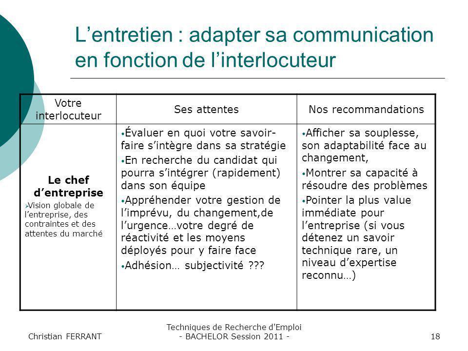 Christian FERRANT Techniques de Recherche d'Emploi - BACHELOR Session 2011 -18 L'entretien : adapter sa communication en fonction de l'interlocuteur V