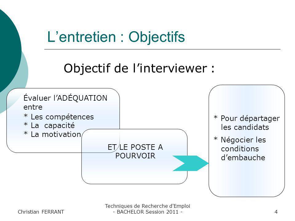 Christian FERRANT Techniques de Recherche d'Emploi - BACHELOR Session 2011 -4 L'entretien : Objectifs Objectif de l'interviewer : Évaluer l'ADÉQUATION