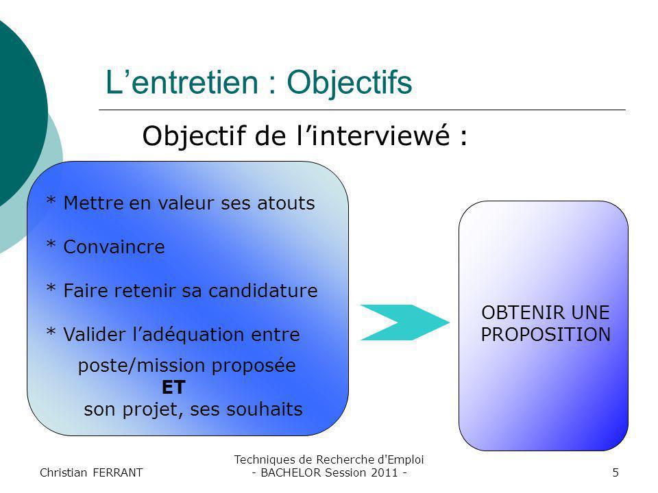 Christian FERRANT Techniques de Recherche d'Emploi - BACHELOR Session 2011 -5 L'entretien : Objectifs Objectif de l'interviewé : * Mettre en valeur se