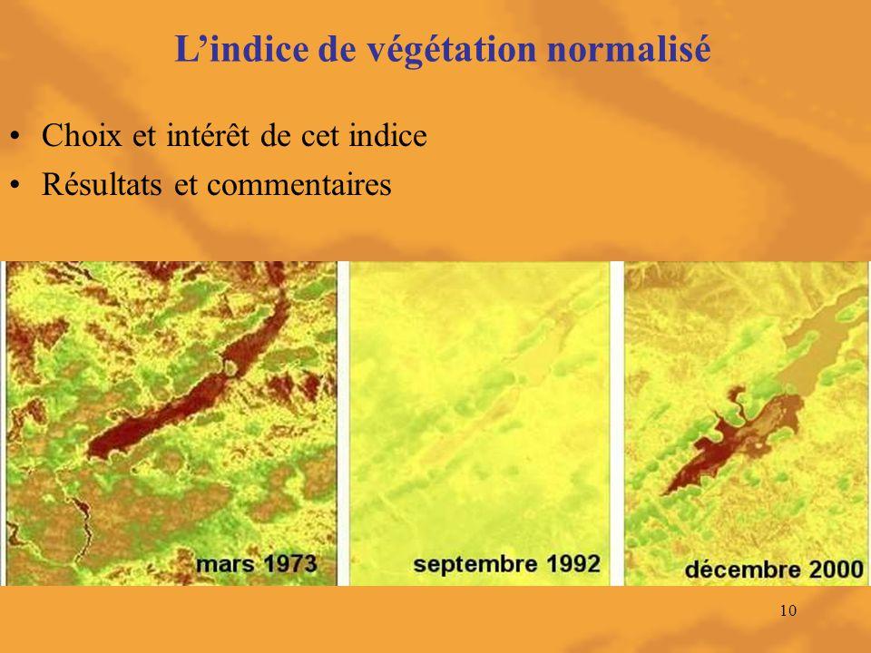 10 L'indice de végétation normalisé Choix et intérêt de cet indice Résultats et commentaires