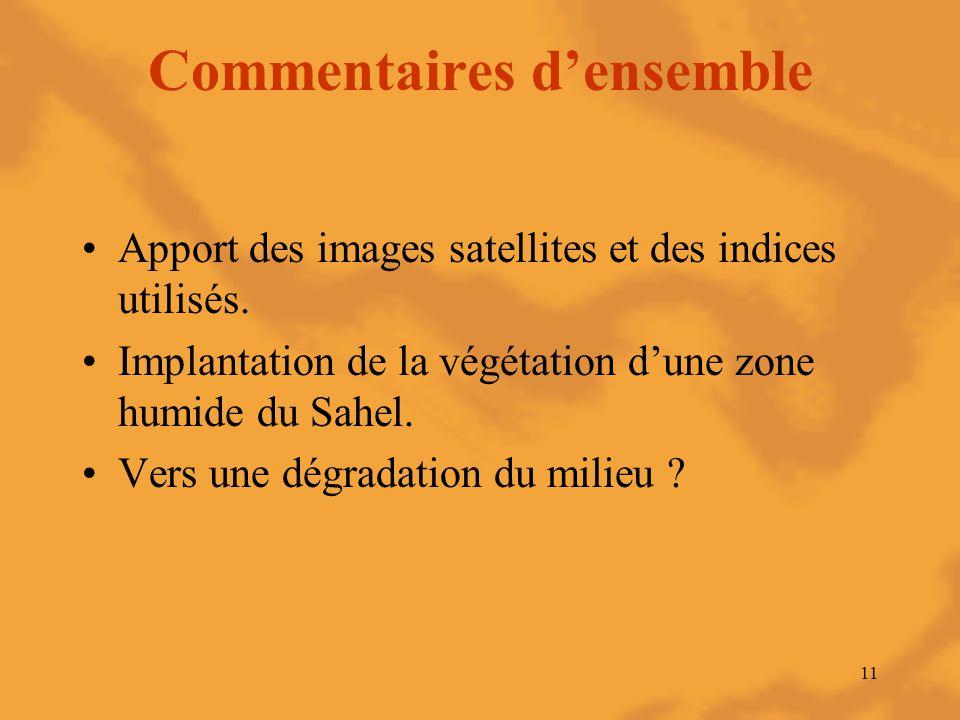 11 Commentaires d'ensemble Apport des images satellites et des indices utilisés. Implantation de la végétation d'une zone humide du Sahel. Vers une dé