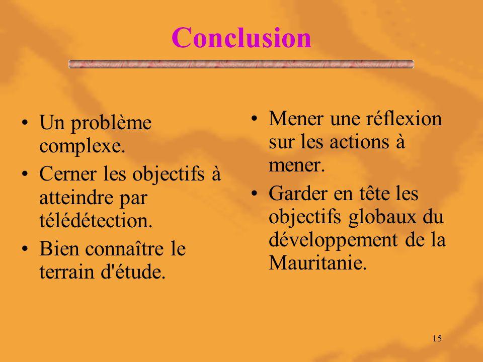15 Conclusion Un problème complexe. Cerner les objectifs à atteindre par télédétection.