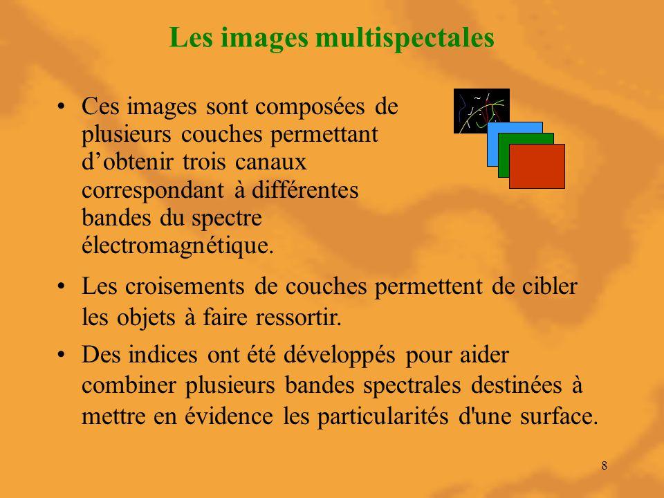 8 Les images multispectales Ces images sont composées de plusieurs couches permettant d'obtenir trois canaux correspondant à différentes bandes du spe