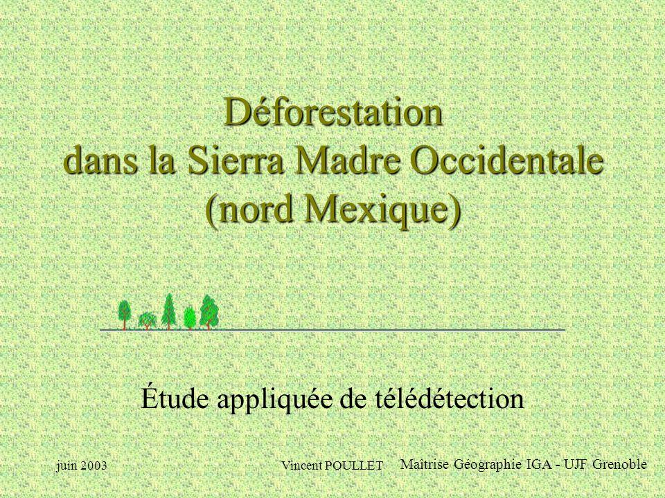 juin 2003Vincent POULLET Déforestation dans la Sierra Madre Occidentale (nord Mexique) Étude appliquée de télédétection Maîtrise Géographie IGA - UJF Grenoble