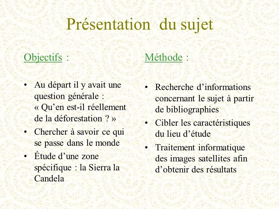Présentation du sujet Objectifs : Au départ il y avait une question générale : « Qu'en est-il réellement de la déforestation .