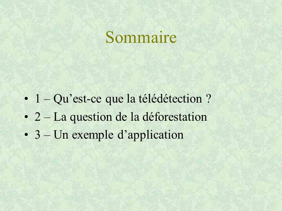 Sommaire 1 – Qu'est-ce que la télédétection .