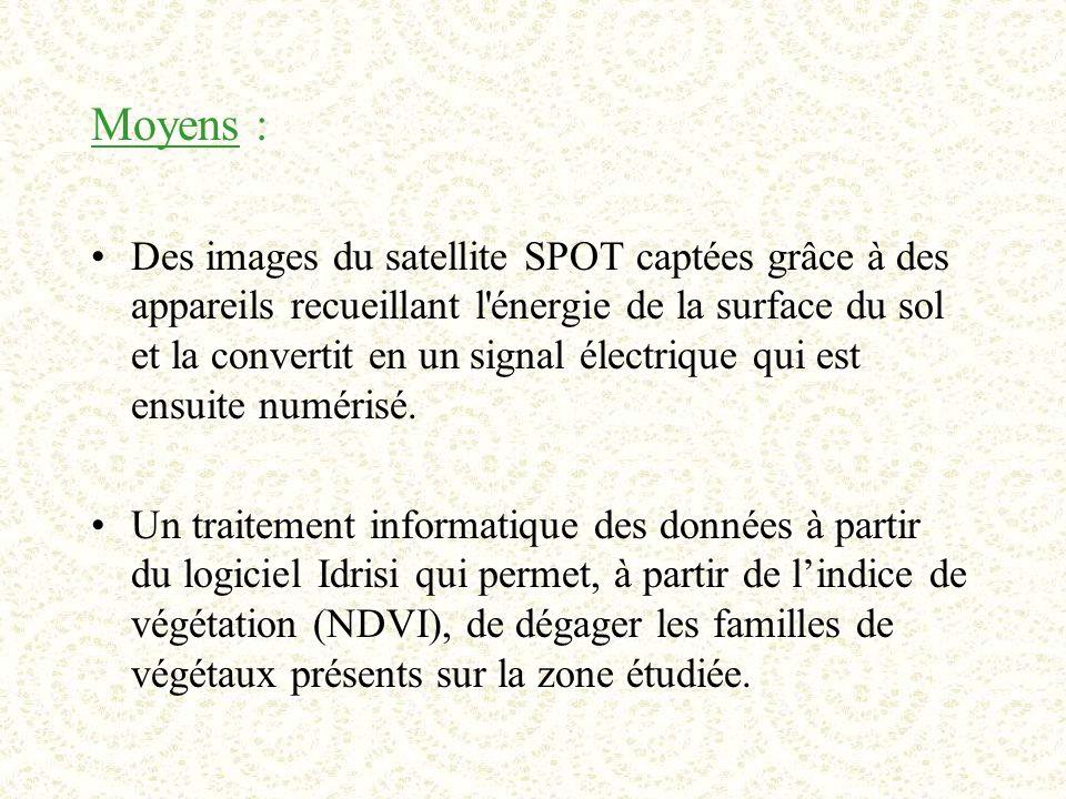 Moyens : Des images du satellite SPOT captées grâce à des appareils recueillant l énergie de la surface du sol et la convertit en un signal électrique qui est ensuite numérisé.