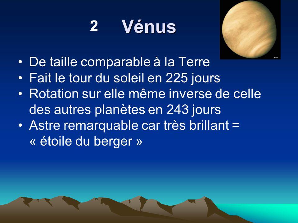 Vénus De taille comparable à la Terre Fait le tour du soleil en 225 jours Rotation sur elle même inverse de celle des autres planètes en 243 jours Ast