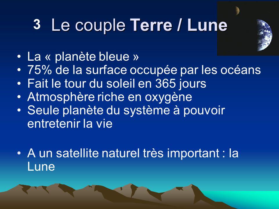 La « planète bleue » 75% de la surface occupée par les océans Fait le tour du soleil en 365 jours Atmosphère riche en oxygène Seule planète du système