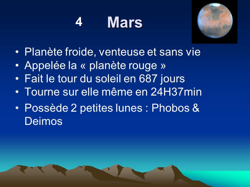 Mars Planète froide, venteuse et sans vie Appelée la « planète rouge » Fait le tour du soleil en 687 jours Tourne sur elle même en 24H37min Possède 2