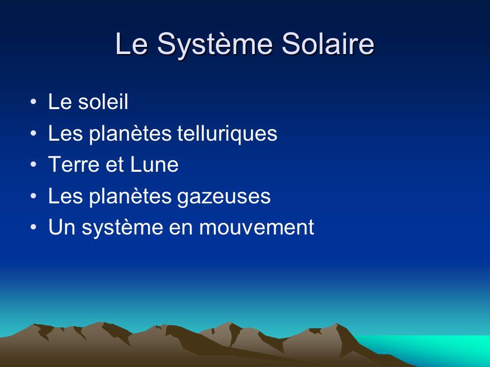 Le Système Solaire Le soleil Les planètes telluriques Terre et Lune Les planètes gazeuses Un système en mouvement