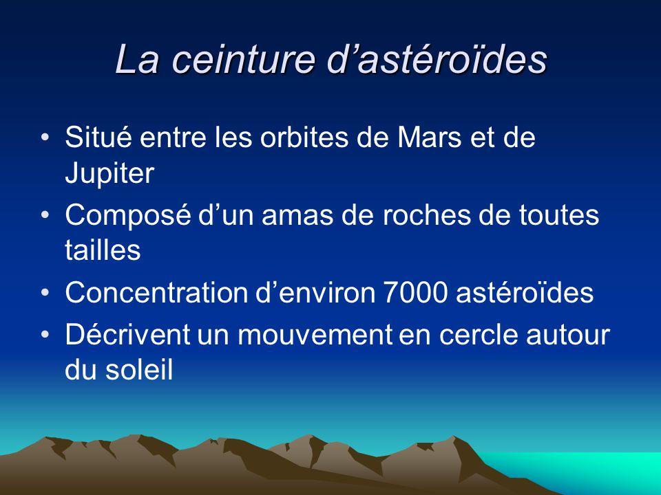 La ceinture d'astéroïdes Situé entre les orbites de Mars et de Jupiter Composé d'un amas de roches de toutes tailles Concentration d'environ 7000 asté
