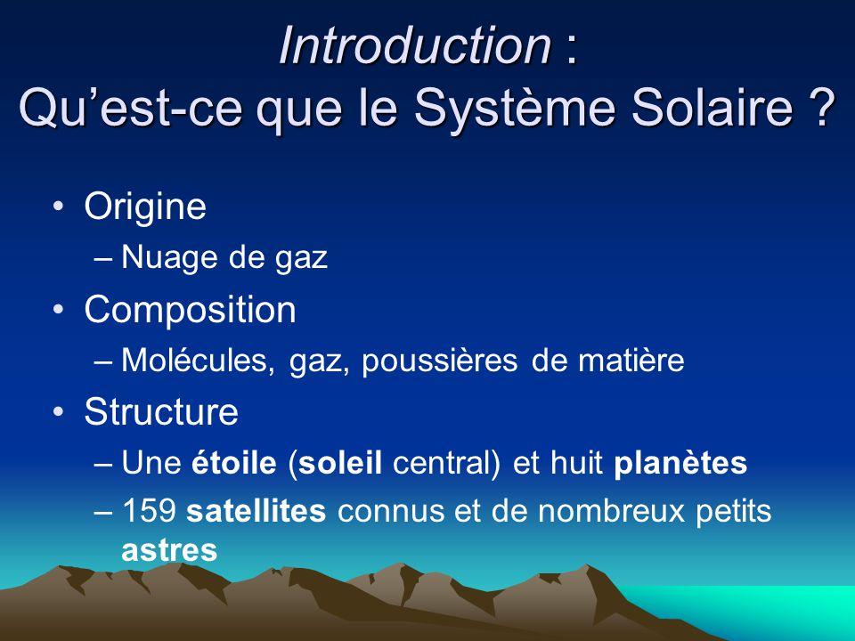 Introduction : Qu'est-ce que le Système Solaire ? Origine –Nuage de gaz Composition –Molécules, gaz, poussières de matière Structure –Une étoile (sole