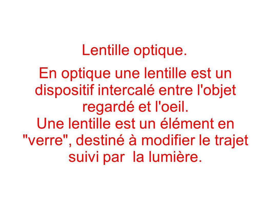 Lentille optique. En optique une lentille est un dispositif intercalé entre l'objet regardé et l'oeil. Une lentille est un élément en
