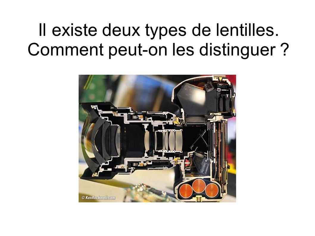 Il existe deux types de lentilles. Comment peut-on les distinguer ?