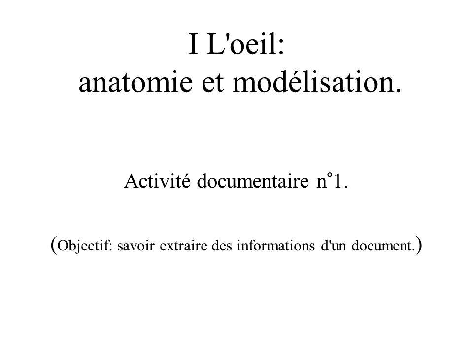 I L'oeil: anatomie et modélisation. Activité documentaire n°1. ( Objectif: savoir extraire des informations d'un document. )