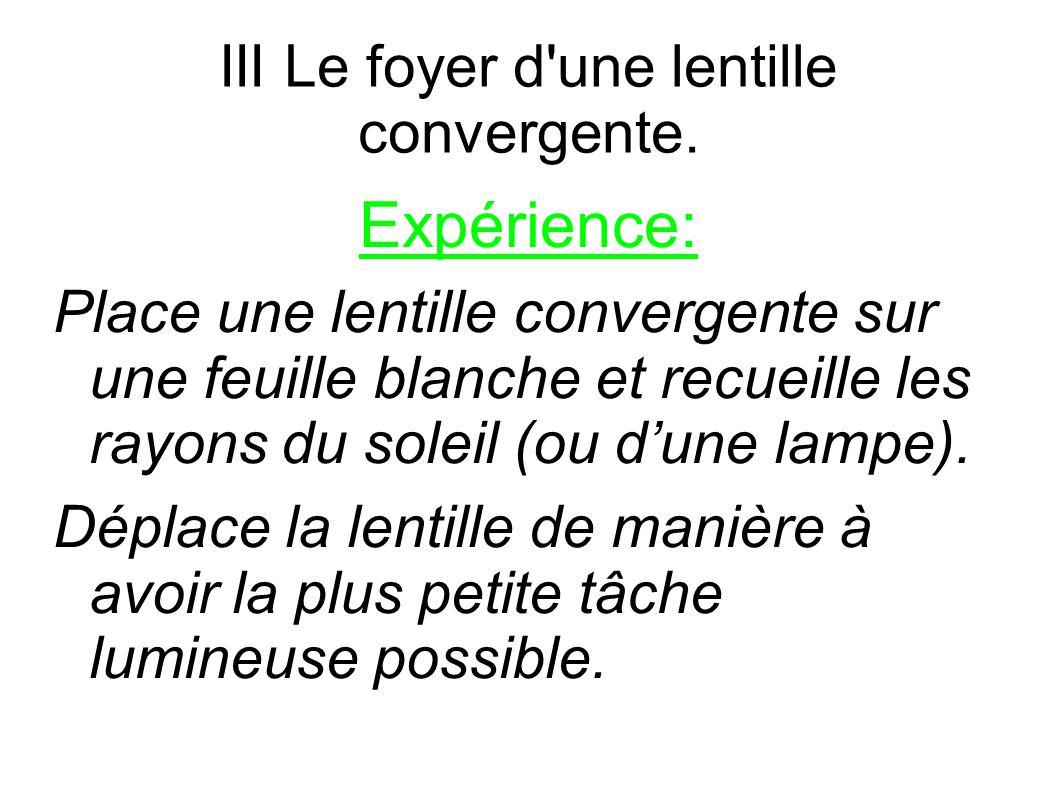 III Le foyer d'une lentille convergente. Expérience: Place une lentille convergente sur une feuille blanche et recueille les rayons du soleil (ou d'un