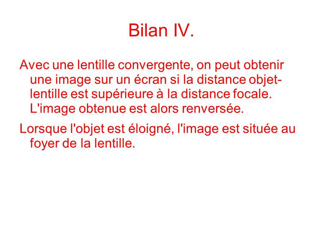 Bilan IV. Avec une lentille convergente, on peut obtenir une image sur un écran si la distance objet- lentille est supérieure à la distance focale. L'