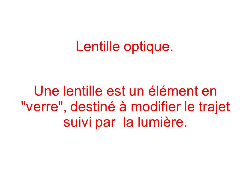 Lentille optique. Une lentille est un élément en