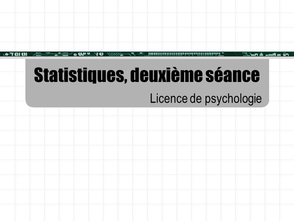 Statistiques, deuxième séance Licence de psychologie