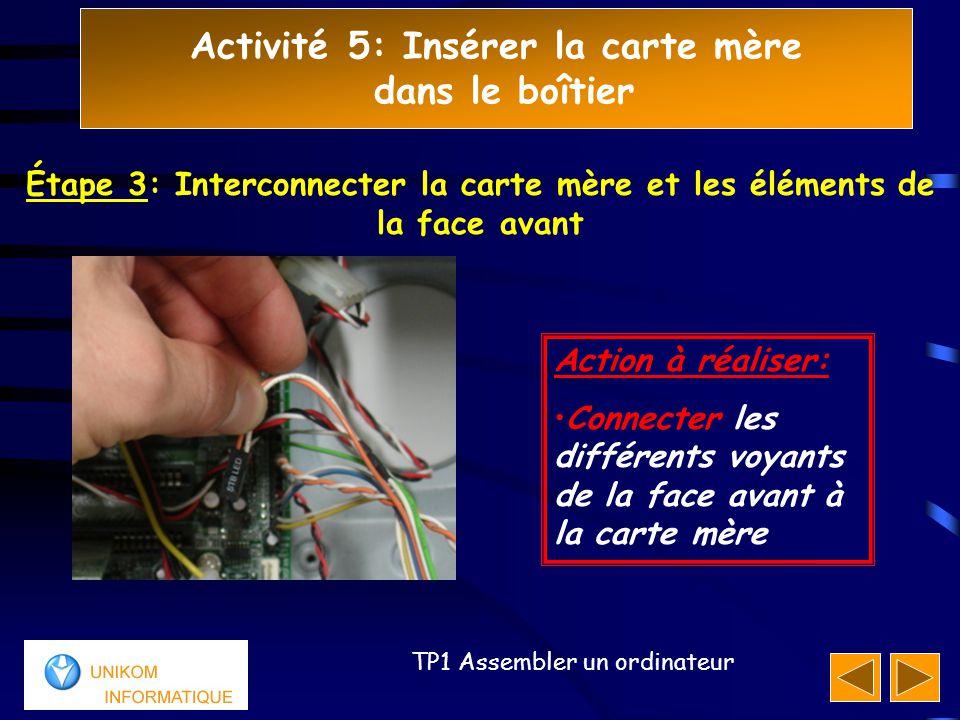 Activité 5: Insérer la carte mère dans le boîtier 444 TP1 Assembler un ordinateur Action à réaliser: Connecter les différents voyants de la face avant à la carte mère Étape 3: Interconnecter la carte mère et les éléments de la face avant
