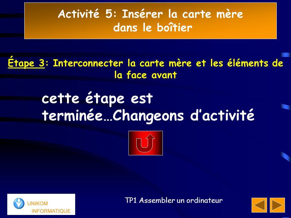 Activité 5: Insérer la carte mère dans le boîtier 555 TP1 Assembler un ordinateur cette étape est terminée…Changeons d'activité Étape 3: Interconnecte
