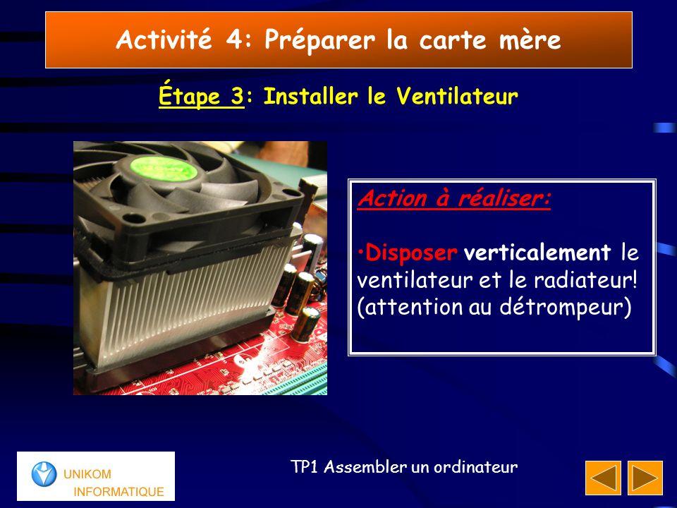 11 TP1 Assembler un ordinateur Activité 4: Préparer la carte mère Étape 3: Installer le Ventilateur Action à réaliser: Disposer verticalement le ventilateur et le radiateur.