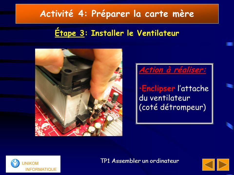 22 TP1 Assembler un ordinateur Activité 4: Préparer la carte mère Étape 3: Installer le Ventilateur Action à réaliser: Enclipser l'attache du ventilateur (coté détrompeur)