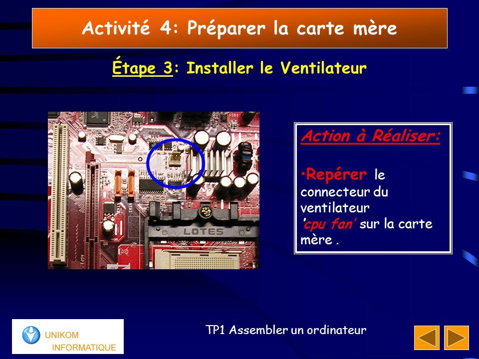 44 TP1 Assembler un ordinateur Activité 4: Préparer la carte mère Étape 3: Installer le Ventilateur Action à Réaliser: Repérer le connecteur du ventilateur 'cpu fan' sur la carte mère.