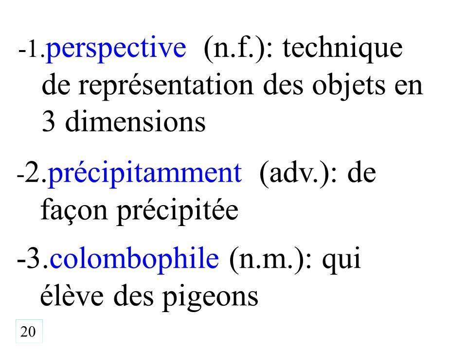 -1. perspective (n.f.): technique de représentation des objets en 3 dimensions 20 - 2.précipitamment (adv.): de façon précipitée -3.colombophile (n.m.