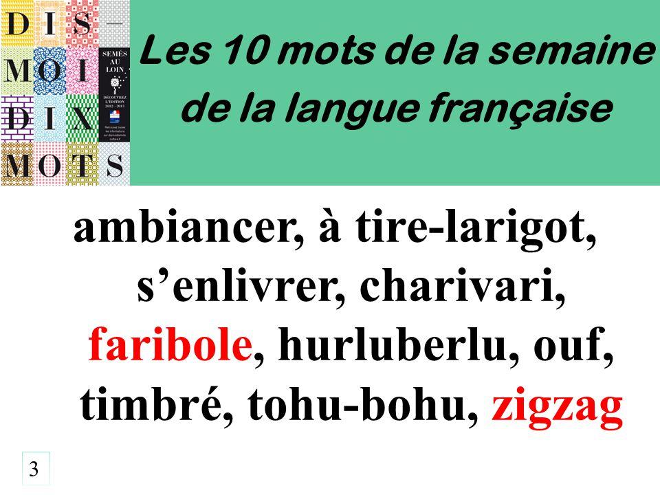 Les 10 mots de la semaine de la langue française ambiancer, à tire-larigot, s'enlivrer, charivari, faribole, hurluberlu, ouf, timbré, tohu-bohu, zigzag 3