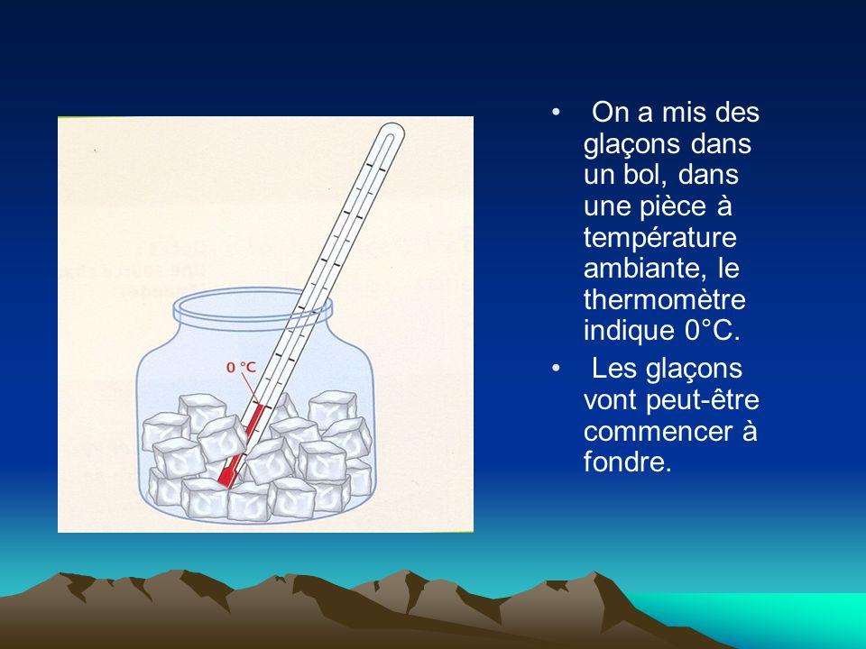 On a mis des glaçons dans un bol, dans une pièce à température ambiante, le thermomètre indique 0°C. Les glaçons vont peut-être commencer à fondre.