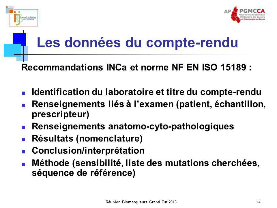 Réunion Biomarqueurs Grand Est 201314 Les données du compte-rendu Recommandations INCa et norme NF EN ISO 15189 : Identification du laboratoire et tit