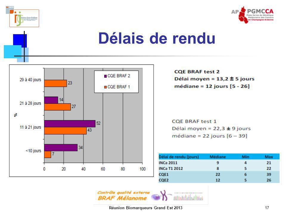 Réunion Biomarqueurs Grand Est 201317 Délais de rendu