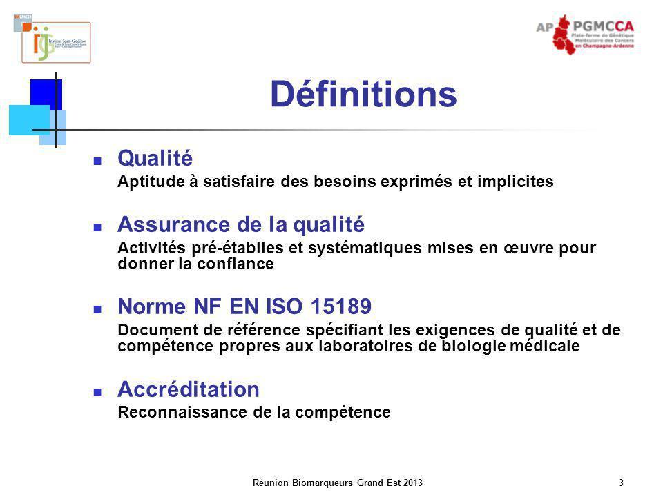 Réunion Biomarqueurs Grand Est 20133 Définitions Qualité Aptitude à satisfaire des besoins exprimés et implicites Assurance de la qualité Activités pr