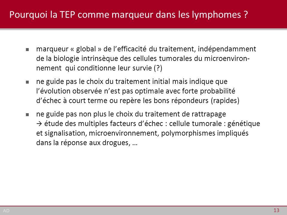 AD Pourquoi la TEP comme marqueur dans les lymphomes ? marqueur « global » de l'efficacité du traitement, indépendamment de la biologie intrinsèque de