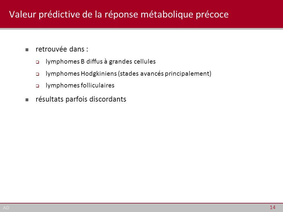 AD Valeur prédictive de la réponse métabolique précoce retrouvée dans :  lymphomes B diffus à grandes cellules  lymphomes Hodgkiniens (stades avancé