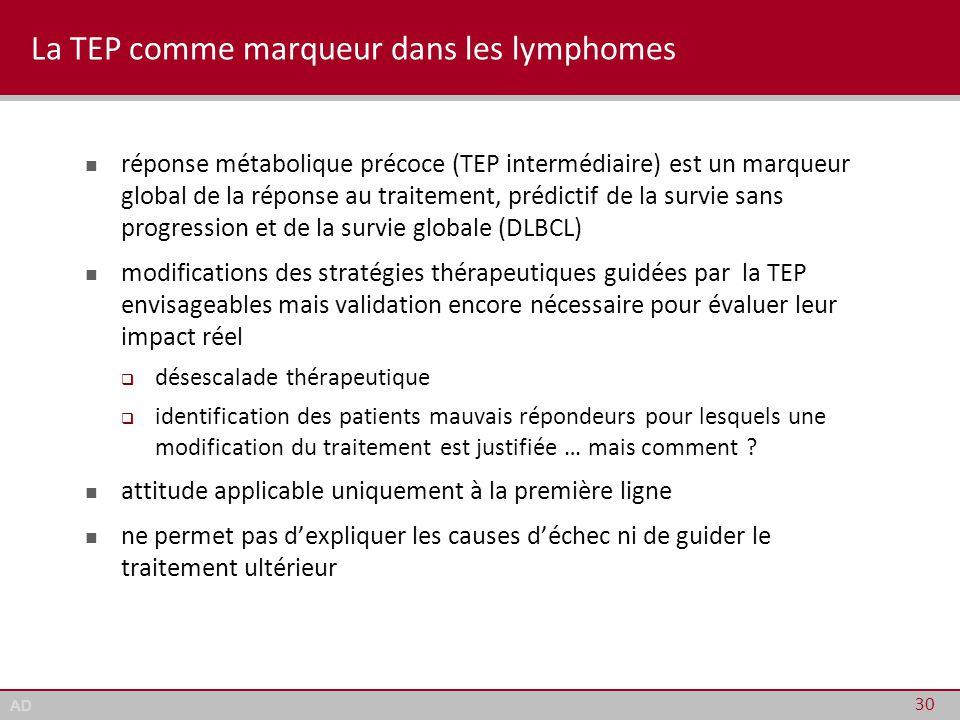 AD La TEP comme marqueur dans les lymphomes réponse métabolique précoce (TEP intermédiaire) est un marqueur global de la réponse au traitement, prédic