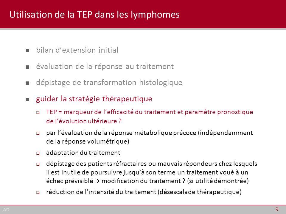 AD Utilisation de la TEP dans les lymphomes bilan d'extension initial évaluation de la réponse au traitement dépistage de transformation histologique guider la stratégie thérapeutique pas de place validée pour le suivi post-thérapeutique 10