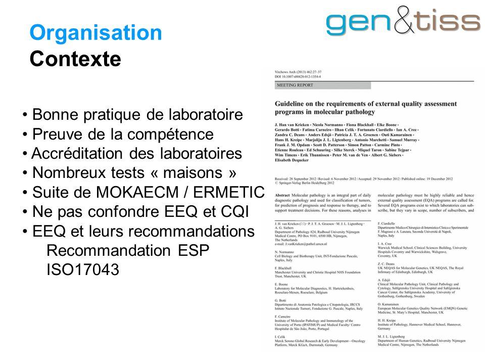 Organisation Contexte Bonne pratique de laboratoire Preuve de la compétence Accréditation des laboratoires Nombreux tests « maisons » Suite de MOKAECM / ERMETIC Ne pas confondre EEQ et CQI EEQ et leurs recommandations Recommandation ESP ISO17043