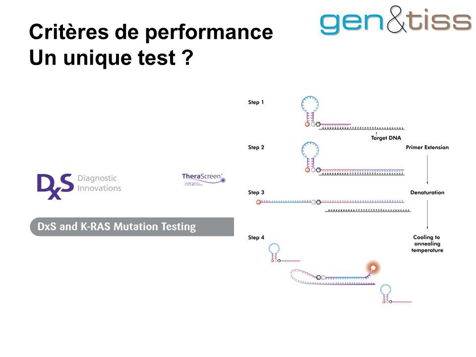 Critères de performance Un unique test ?