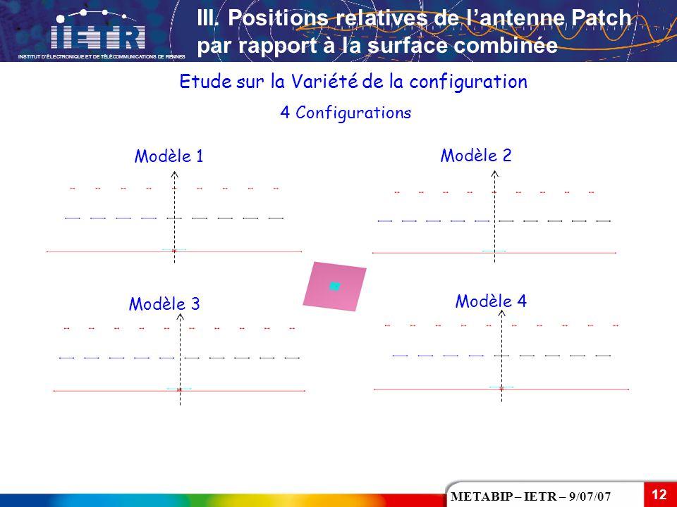 INSTITUT D'ÉLECTRONIQUE ET DE TÉLÉCOMMUNICATIONS DE RENNES 12 METABIP – IETR – 9/07/07 Etude sur la Variété de la configuration 4 Configurations Modèl