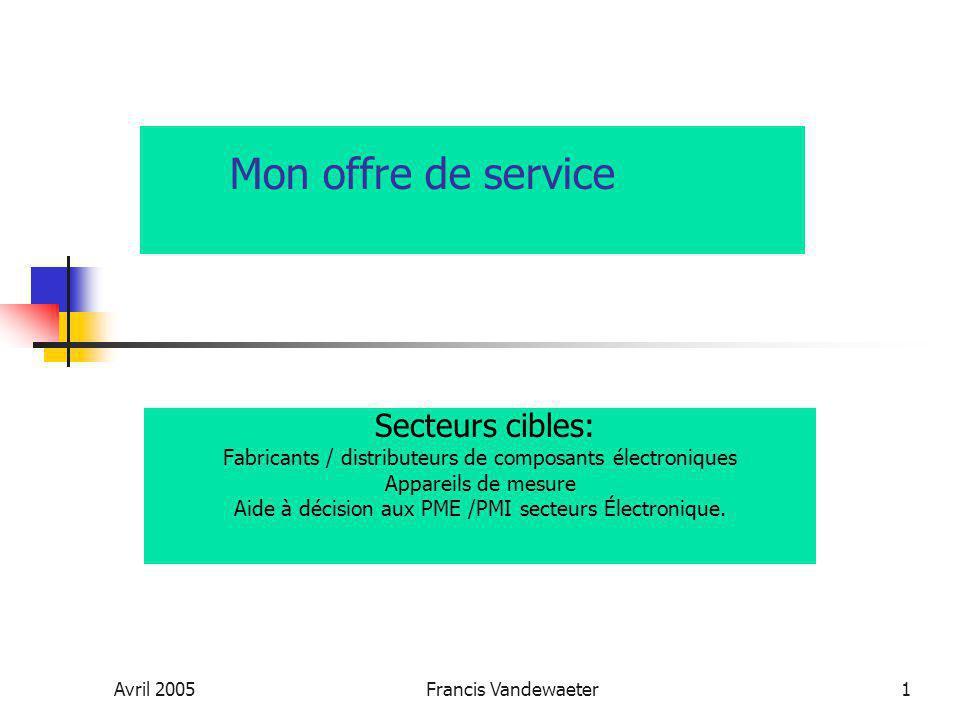 Avril 2005Francis Vandewaeter1 Mon offre de service Secteurs cibles: Fabricants / distributeurs de composants électroniques Appareils de mesure Aide à décision aux PME /PMI secteurs Électronique.